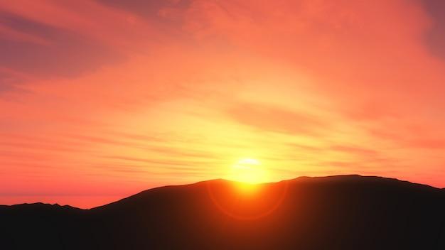 Paysage coucher de soleil en 3d