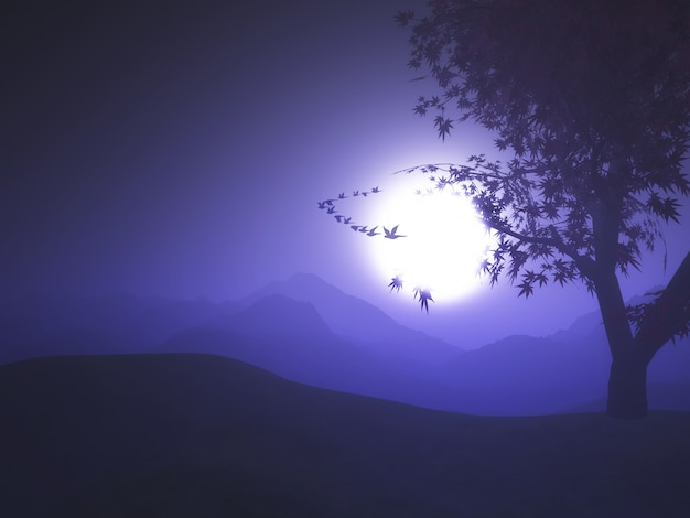 Paysage de coucher de soleil violet 3d avec des oiseaux qui volent dans le ciel