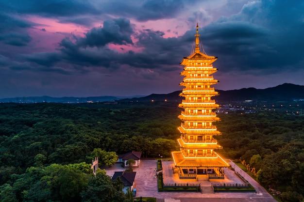 Paysage avec coucher de soleil à yixing