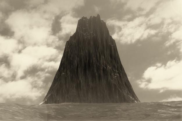 Paysage dramatique de black rock island en gros plan extrême de l'océan. rendu 3d