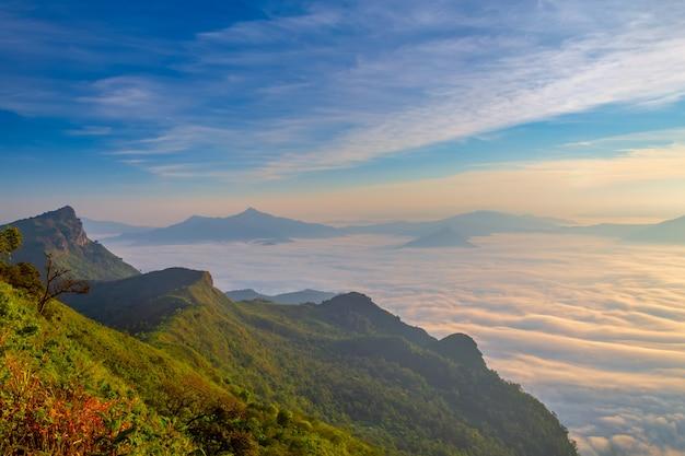 Paysage du lever du soleil sur la montagne à phu chi dao, thaïlande