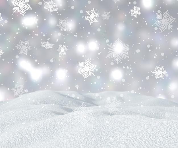 Paysage enneigé 3d avec des flocons de neige qui tombent