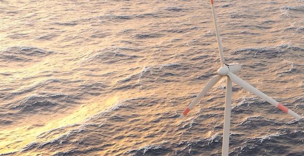 Paysage avec une éolienne sur une mer agitée. coucher de soleil chaud. rendu 3d