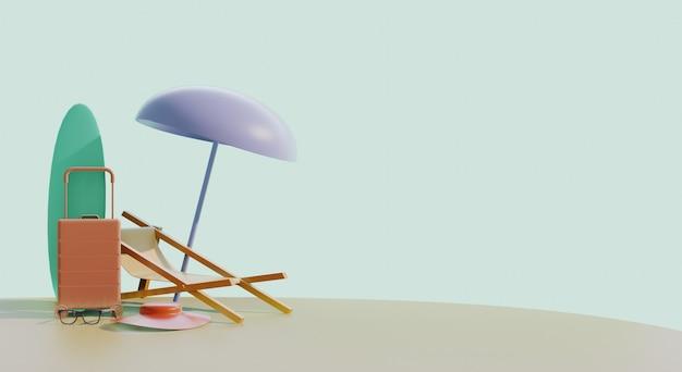 Paysage d'été 3d avec chaise longue, parasol et valise