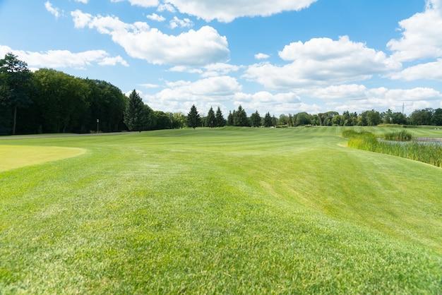Paysage d'été pittoresque avec des pelouses vertes dans un parc et des remblais courbes sous un ciel bleu ensoleillé avec des nuages