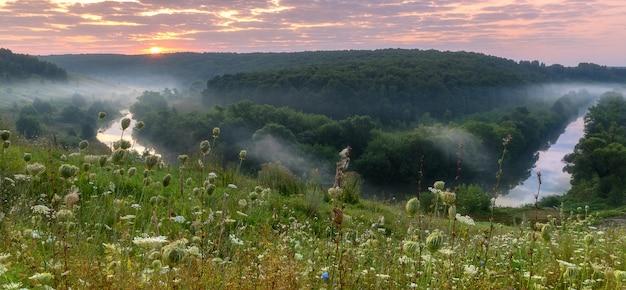 Paysage d'été, soleil du matin avec nuages et brouillard sur la petite rivière et le pré.