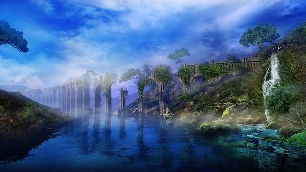Paysage fantastique avec aqueduc de la rivière et cascade d rendu
