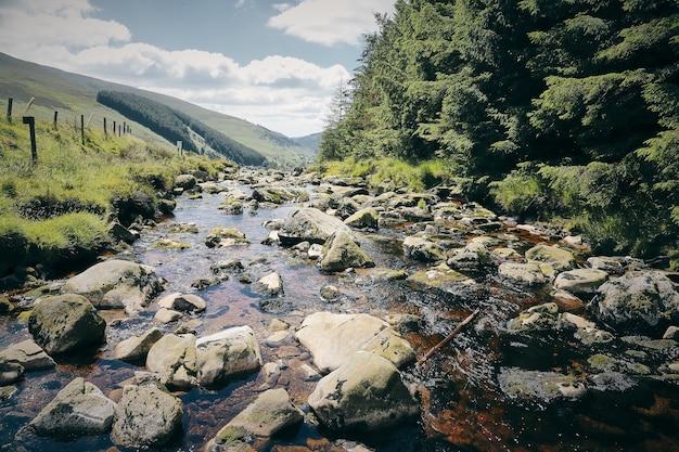 Paysage fascinant d'un ruisseau de la montagne wicklow