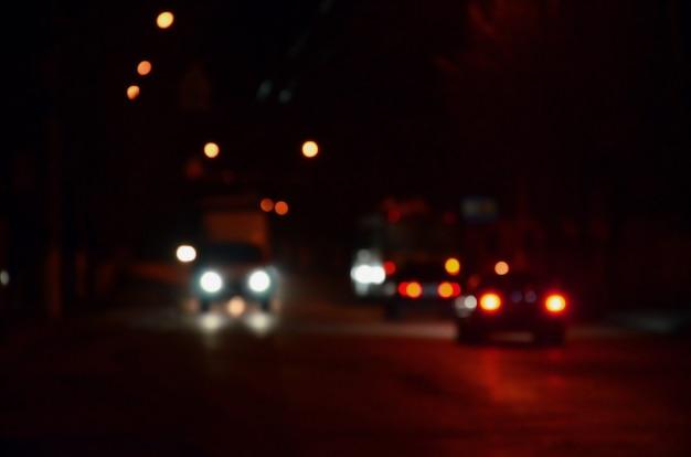 Paysage flou de la ville de nuit