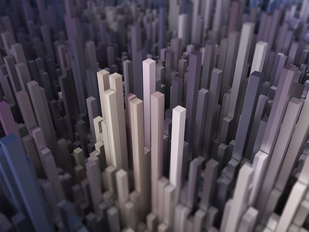 Paysage futuriste abstrait 3d avec extrusion de cubes