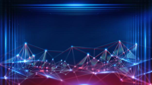Paysage géométrique et technologie fintech de blockchain numérique futuriste.