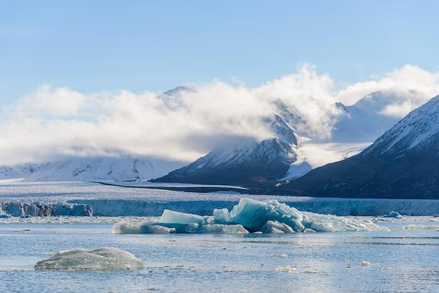 Paysage avec glacier au svalbard à l'heure d'été. temps ensoleillé.