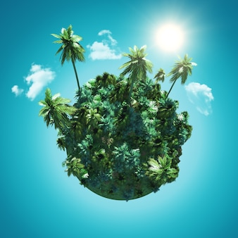 Paysage avec un globe de palmier sur un ciel bleu avec des nuages