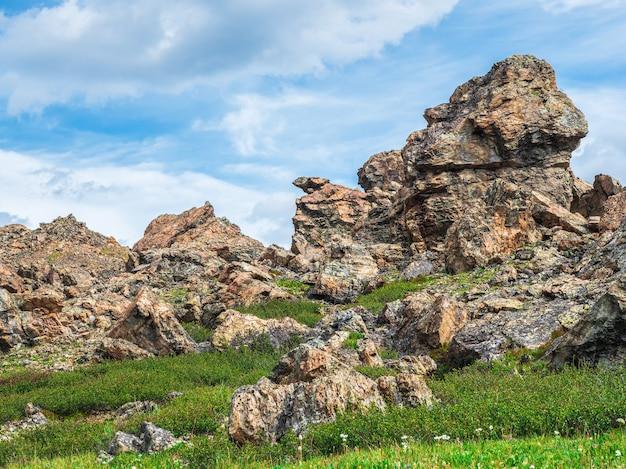 Paysage de haute montagne ensoleillé avec de grosses pierres de forme inhabituelle. superbe paysage de montagne pittoresque avec de grosses pierres fissurées en gros plan parmi l'herbe sous un ciel bleu au soleil.