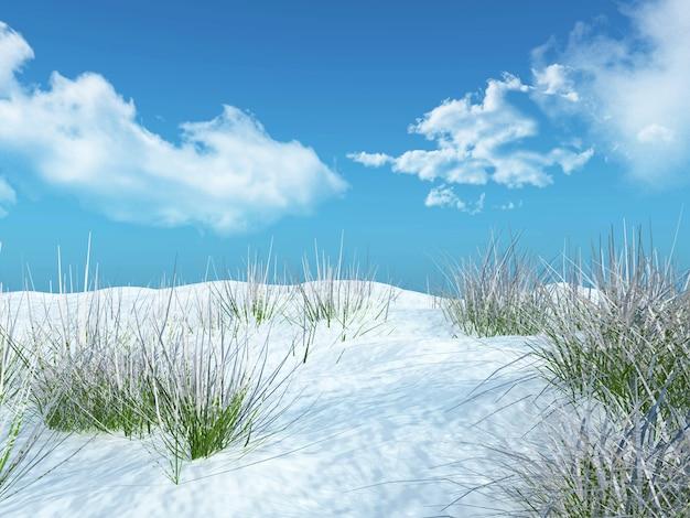 Paysage d'herbe enneigée 3d