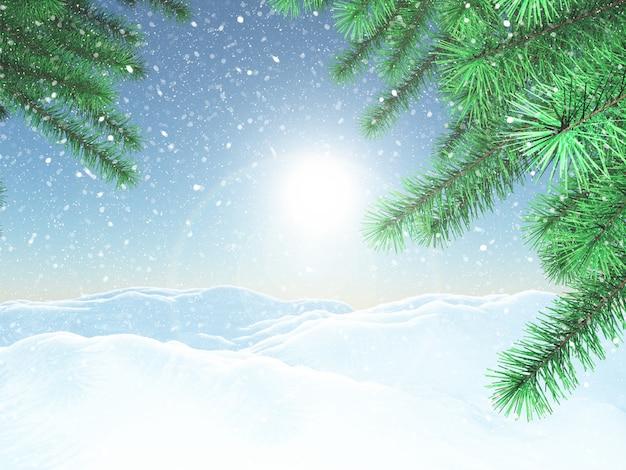 Paysage d'hiver en 3d avec des branches d'arbres de noël