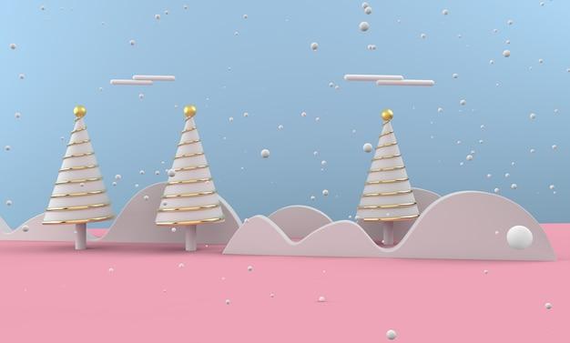 Paysage d'hiver avec des arbres de noël