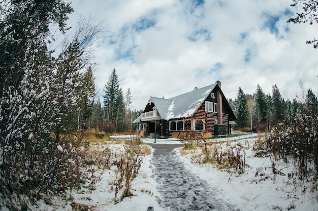Paysage d'hiver avec la construction de maisons dans la neige de la forêt