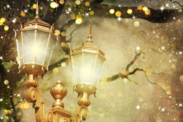 Paysage d'hiver du soir de noël avec des lampadaires vintage