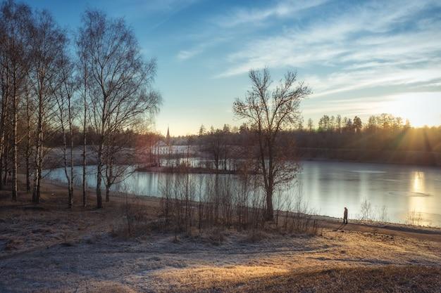 Paysage d'hiver ensoleillé avec un vieux palais