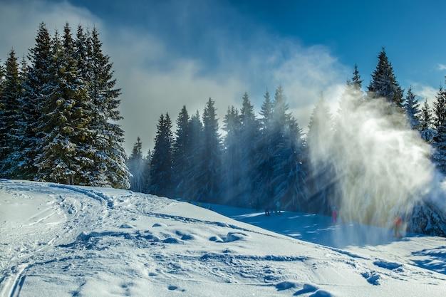 Paysage d'hiver. forêt d'hiver avec la neige courante dans les montagnes des carpates.