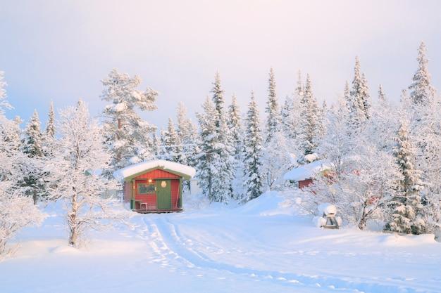 Paysage d'hiver lever du soleil