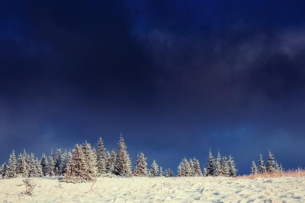 Paysage d'hiver mystérieux montagnes majestueuses