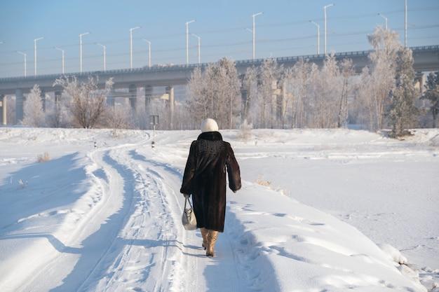 Paysage d'hiver de neige blanche dans le parc de la ville.
