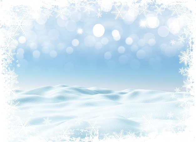 Paysage d'hiver de noël 3d