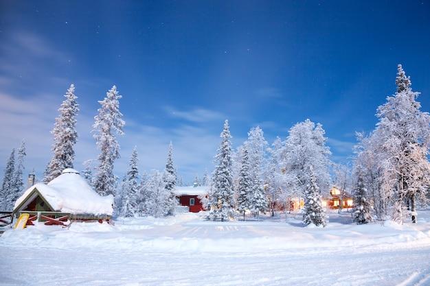 Paysage d'hiver la nuit