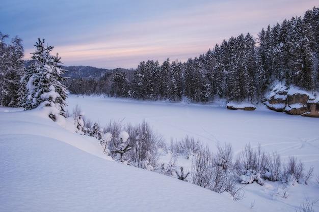 Paysage d'hiver tranquille avec rivière gelée et forêt