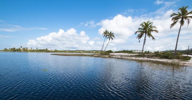 Paysage avec île tropicale dans le nord-est du brésil