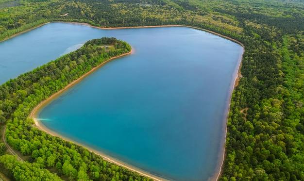 Paysage avec lac dans le panorama du lac forestier