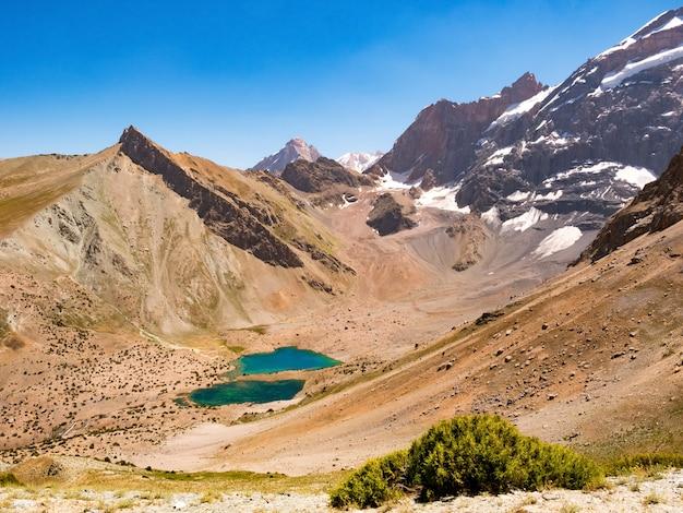 Paysage avec les lacs kulikalon dans les montagnes fann