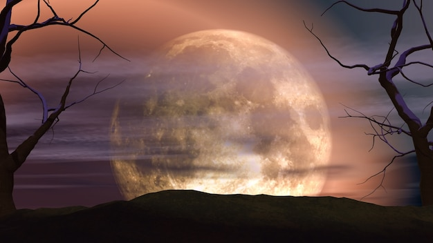 Paysage de lune en 3d avec des arbres fantasmagoriques