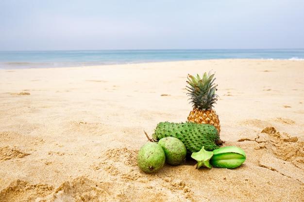 Paysage marin avec des fruits