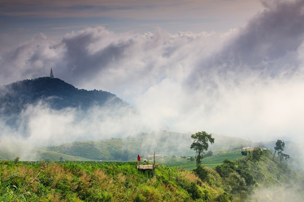 Paysage mer de brume sur la province phu- tub-berk phetchabun, thaïlande.