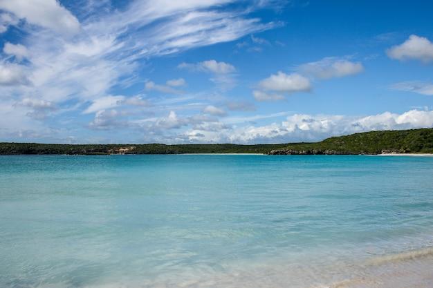 Paysage d'une mer tuquoise avec une plage de sable blanc en arrière-plan à porto rico