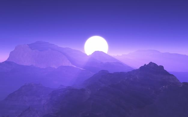 Paysage de montagne 3d avec ciel coucher de soleil violet