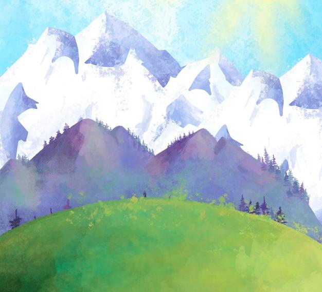 Paysage de montagne aquarelle avec des arbres et des montagnes enneigées,