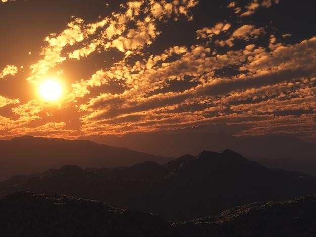 Paysage de montagne au coucher du soleil en 3d