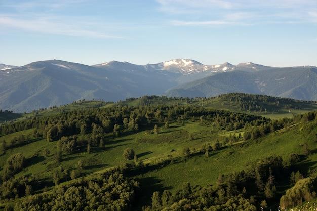 Paysage de montagne. au loin, vous pouvez voir la neige au sommet de la montagne.