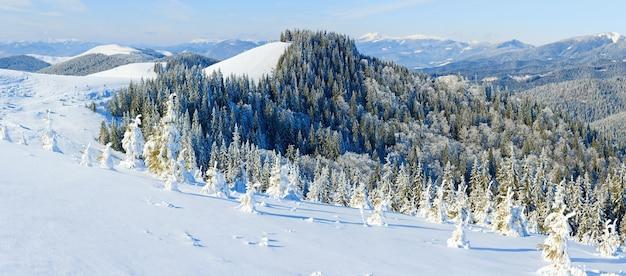 Paysage de montagne calme d'hiver avec des épinettes couvertes de givre et de neige. cinq clichés piquent l'image.