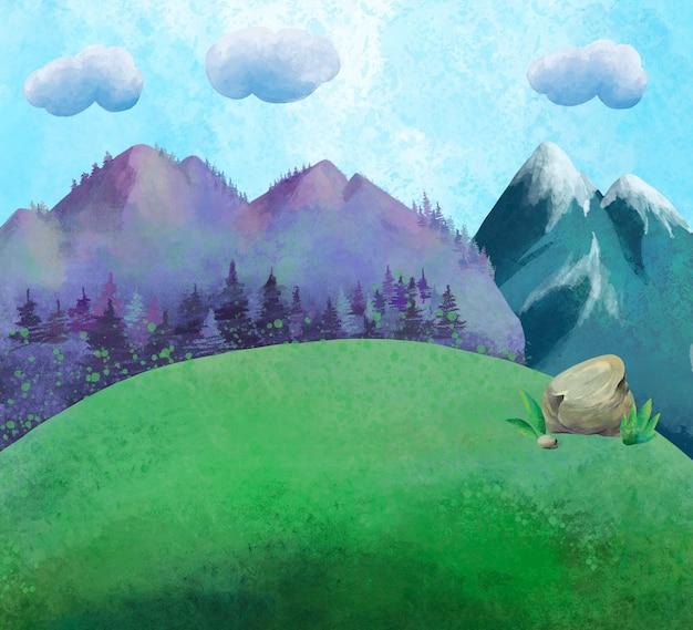 Paysage de montagne d'été aquarelle, scène de campagne ensoleillée naturelle.