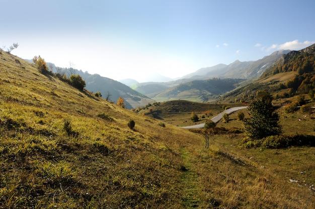 Paysage de montagne, fond de matin