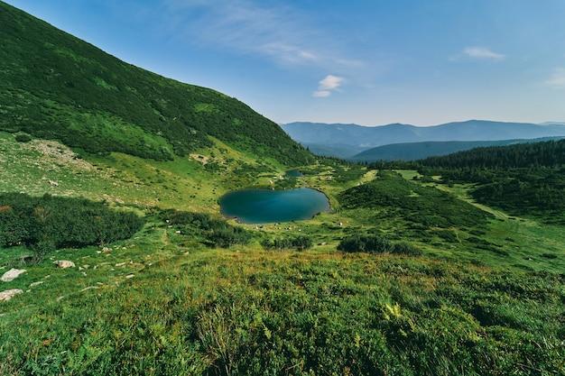 Paysage de montagne avec forêt et lac par temps ensoleillé d'été. un camp avec des tentes de touristes est installé près du lac. montée au sommet, repos, tourisme.