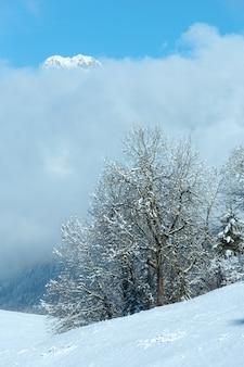 Paysage de montagne d'hiver avec des nuages bas sur la pente (autriche, bavière).