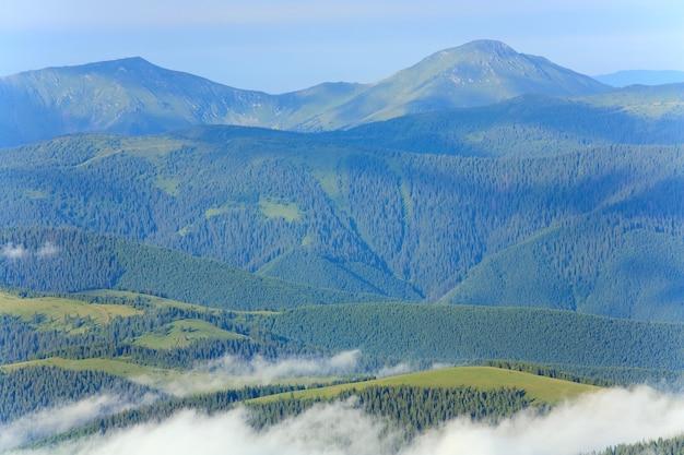 Paysage de montagne nuageux d'été (ukraine, carpates)