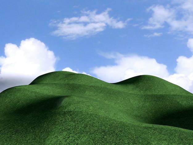 Paysage de montagne verte avec ciel bleu, rendu 3d