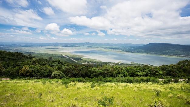 Paysage de montagnes et de barrages